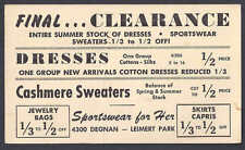 1958 SPORTSWEAR FOR HER SALE ON DRESSES & CASHMERE SWEATERS, LOS ANGELES CA
