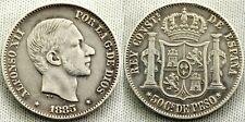 Alfonso XII. AUTÉNTICOS 50 centavos Plata Alfonso XII año 1885 ceca de MANILA.