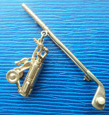 Vintage 9ct Gold & Pearl Golfing / Golf Club & Ball Brooch + Golf Bag / Trolly