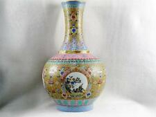BEAUTIFUL VINTAGE LARGE CHINESE PORCELAIN COLORFUL VASE W/ MANY DIFFERENT IMAGES