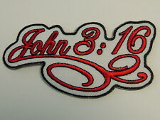 "Patch,  ""RELIGIOUS - JOHN 3:16 - Scroll""  embroidered emblem, PH432"