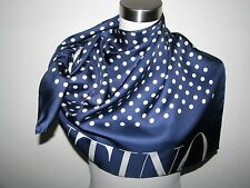 "NWT AUTHENTIC 100% SILK 34"" Sq BLUE/WHITE VALENTINO SCARF made in Italy"