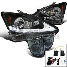 2006-2009 Lexus IS250 SMD LED DRL Signal Projector Headlights+Fog Lamps Smoke