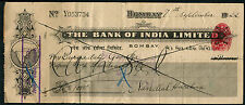 The Bank of India 1922 1000R check cheque with map of India & revenue stamp