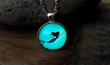 Glow in the Dark Little Mermaid Necklace Swimming Ariel Under the Sea Glowing 22