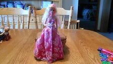 Mattel Blond/pink-haired  Barbie Doll  princess convertible dress /crown/ heels