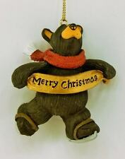 BIG SKY CARVERS BEARFOOTS MERRY CHRISTMAS SKATING BEAR ORNAMENT FREE SHIPPING