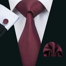 SN-1464 Red Novelty Mens Tie Classic Silk  Woven Necktie set  Wedding Party F&S