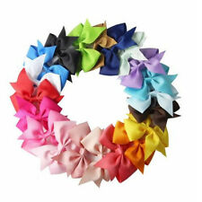 Popular Fitting 20X Handmade Bow Hair Clip Girls Ribbon Kids Sides Accessories