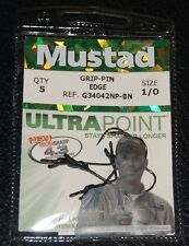 Mustad G34042NPBN-10 GRIP PIN Edge Straight Shank Bass Hooks Size 1/0 Pack of 5