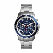NWT Fossil FS5238 Mens Grant Sport Silver Stainless Steel Chron Blue Watch 44mm