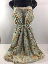 Pure Silk Cocktail/Summer Dress (light Blue, Floral, Made in Brazil)