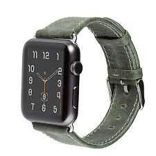 Apple Watch Band, 38mm Vintage Green Genuine Leather Strap Wrist Band iWatch
