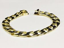 "10kt solid gold handmade Curb Link mens bracelet 8"" 25 Grams 11MM"