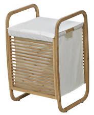 Evideco Laundry Hamper Basket Clothing Organizer Bamboo White Fabric