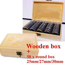 Round Coins Holders Wooden Storage Box Container Display Cases Wood