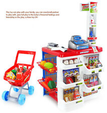 Kids Children Supermarket Set Toy Food Stall Play With Trolley, Light & Sound