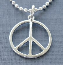 "Mens Womens Silver plated Pendant Necklace PEACE SIGN Symbol Ball chain  20"" S26"