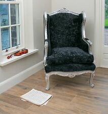 French Wingback Queen Ann Arm Silver Black Shabby Chic Bedroom Hallway Chair