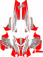 RACING POLARIS RUSH PRO-RMK 600/800 SNOWMOBILE SLED WRAP DECALS CARBEN & RED