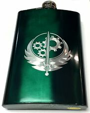 Brotherhood of Steel Fallout Engraved Green Steel 8oz Hip Flask Liquor FEN-0038