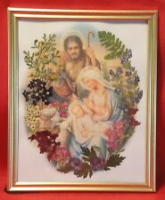 Handmade in the USA 8x10 Holy Family Jesus Mary & Joseph Pressed Flower Picture