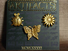 """JJ"" Jonette Jewelry Gold Pewter SPRING Tac Pins ~ Butterfly, Flower & Ladybug"