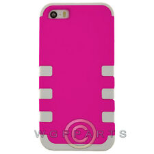 Apple iPhone 5/5S/SE TUFF Hybrid Case - Light Pink/White Cover Shell Protector
