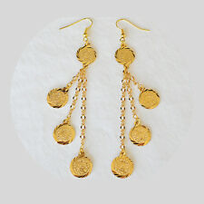 Coin Earrings Drop Dangle Middle East Arabic Jewelry 24k Gold Plated - 1/2 Coins