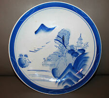 Antique Japanese Edo Period Blue and White Porcelain Plate Charger