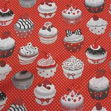 Stoff Meterware Baumwolle Törtchen Muffins Kuchen rot weiß Punkte Cupcake Neu