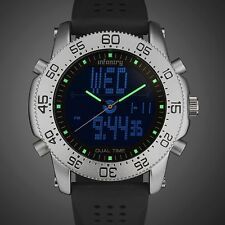 INFANTRY Mens Digital Quartz Wrist Watch LCD Police Style Date Sport Army Rubber