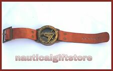 Antique Style Steampunk Wrist Brass Compass & Sundial-Watch Type Sundial