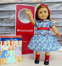 "NEW LG 18"" American Girl Brave EMILY DOLL & BOOK Headband Dress Clothes Shoes!"