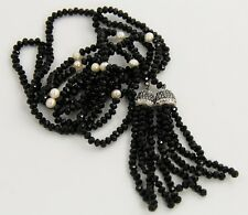 """48"""" VINTAGE Jewelry ONYX PEARL & MARCASITE LARIAT FLAPPER TASSEL DANGLE NECKLACE"""