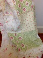 Shabby Chic French Country Throw Quilt Rug Blanket Green Off White Patchwork