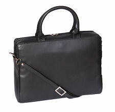 Black Leather Briefcase For Womens Work Organiser Office Laptop Shoulder bag H18