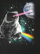 GRUMPY CAT IN GALAXY - LASER EYES BLOWING UP EARTH  - LARGE  BLACK T-SHIRT C1171