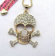 Betsey Johnson Shiny crystal skull pendant Necklace#387L