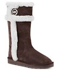 Michael Kors MK LOGO Coffee Shearling Fur Winter Tall Knee Boots Shoes 6 36 NIB