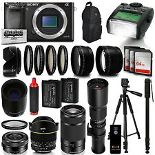 Sony Alpha a6000 Mirrorless Black Digital Camera with 16-1000mm Zoom Lens Kit