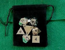 Set of 7 Silver Colored Polyhedral Metal Dice (14mm d6, RPG / dnd Dice)