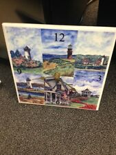 Ceramic Tile Clock of 6  painted scenes from Martha's Vineyard by  Brad Tanner