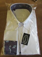 "MENS WHITE POINTED COLLAR PIN SHIRT WITH MAUVE MULTI PAISLEY TRIM SIZE 15.5""18"""
