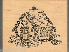 PSX Rubber Stamp F-397 Christmas, Gingerbread candy house,   Used S14