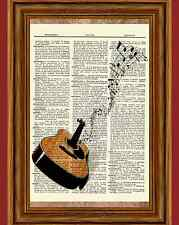 Acoustic Guitar Dictionary Art Print Book Page Picture Poster Vintage Wall Decor