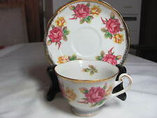 SHAFFORD HAND DECORATED PEDESTAL CUP AND SAUCER JAPAN  ROSES