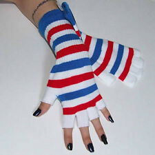 New Fingerless Red White Blue Striped Arm Warmer Gloves Gothic Lolita 80s Punk