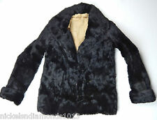 TRUE VINTAGE 1940'S WOMEN'S AUTHENTIC BLACK FUR JACKET / COAT SMALL 2-BUTTON