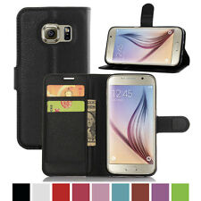 Luxury PU Leather Card Wallet Stand Flip Smart Case For Samsung Galaxy S7- Black
